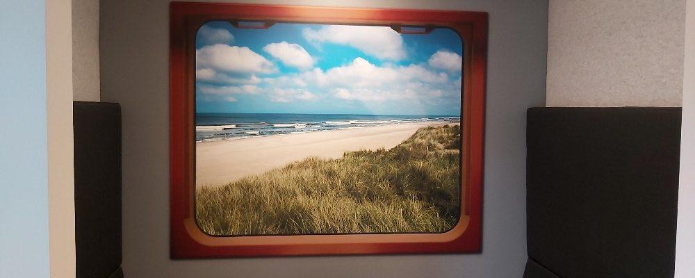 Korteland In- & Outdoor Signing - Perfectkeur Ridderkerk - treincoupés vergaderruimte naadloosbehang vilt